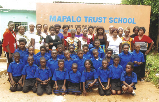 A class photo with our sponsored children in Zambia